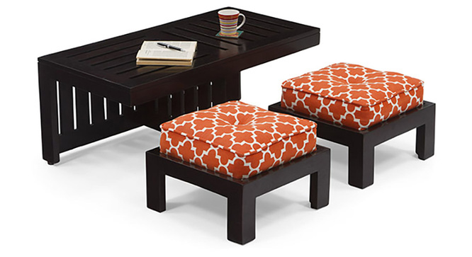 Caffino Coffee Table Set(Ebony&Morocco Lattice Rust)