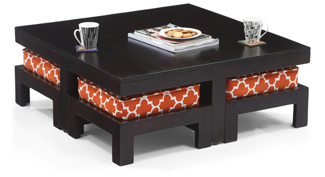 Tribal Coffee Table Set (Ebony Morocco Lattice Rust)