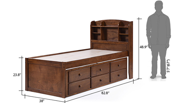Ateneo Storage Headboard Single Bed With Trundle And Storage(Polished cherry)