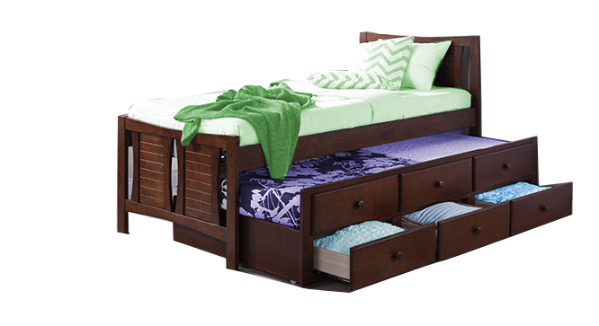 Francis Single Bed With Trundle and Storage (Mahogany)