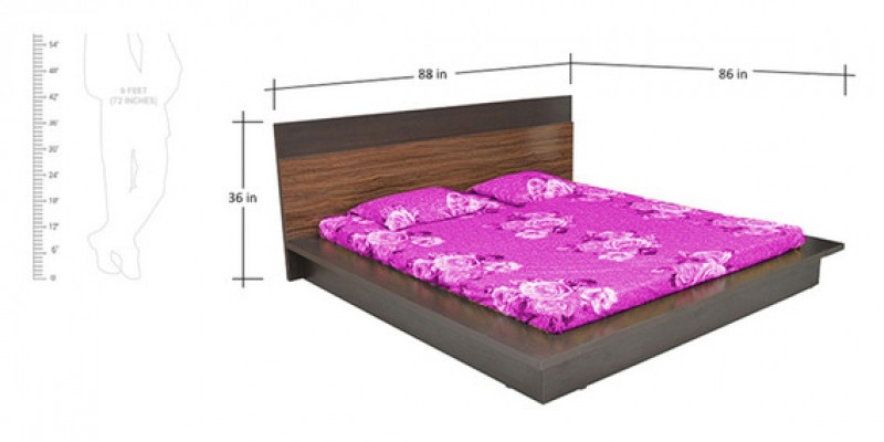 Abner King Bed with Walnut Colour