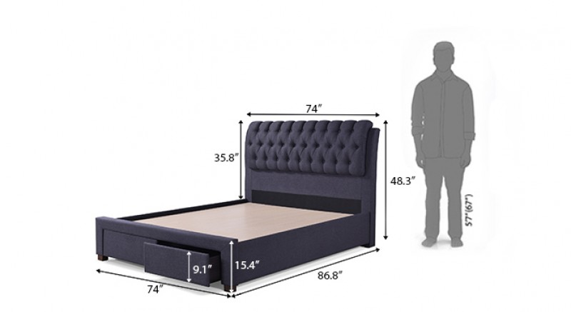 CASIOPE UPHOLSTERED STORAGE BED KING SIZE